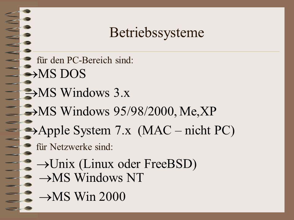 Betriebssysteme MS DOS MS Windows 3.x MS Windows 95/98/2000, Me,XP Apple System 7.x (MAC – nicht PC) für Netzwerke sind: MS Windows NT MS Win 2000 Unix (Linux oder FreeBSD) für den PC-Bereich sind: