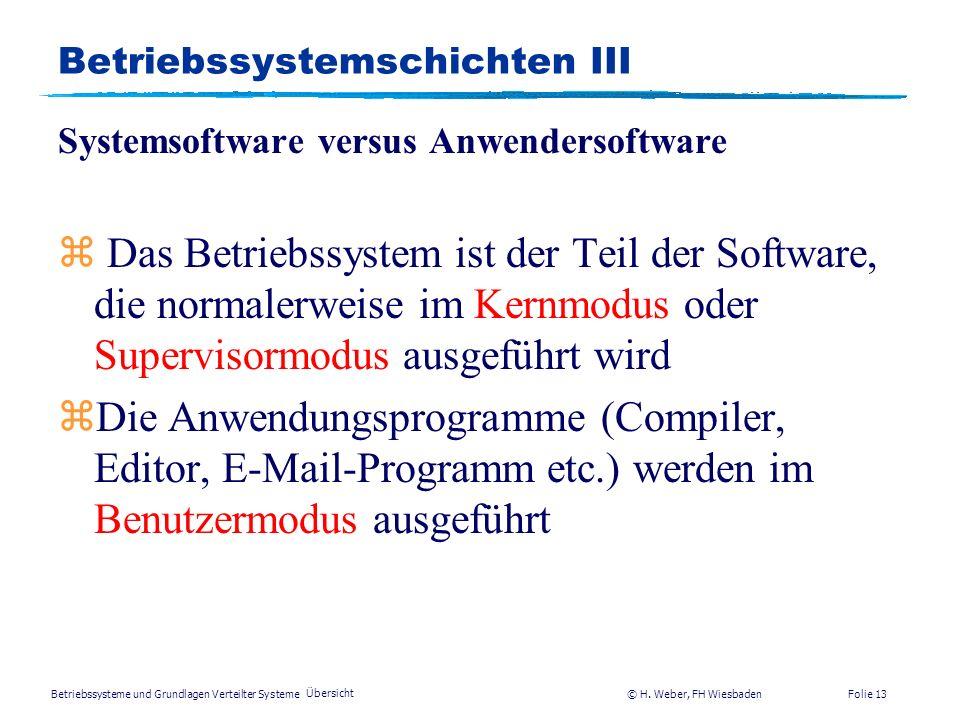 Betriebssysteme und Grundlagen Verteilter Systeme © H. Weber, FH Wiesbaden Übersicht Folie 12 Betriebssystemschichten II User 1 User 2 User 3 Compiler