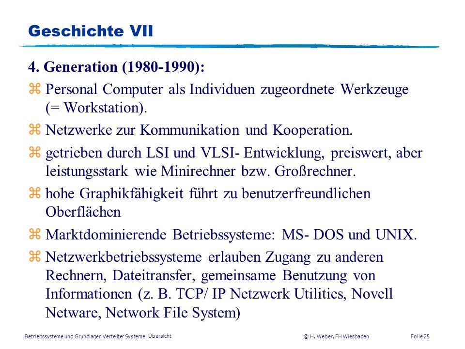 Betriebssysteme und Grundlagen Verteilter Systeme © H. Weber, FH Wiesbaden Übersicht Folie 24 Geschichte VI 3. Generation (1965-1980): ICs und Multipr