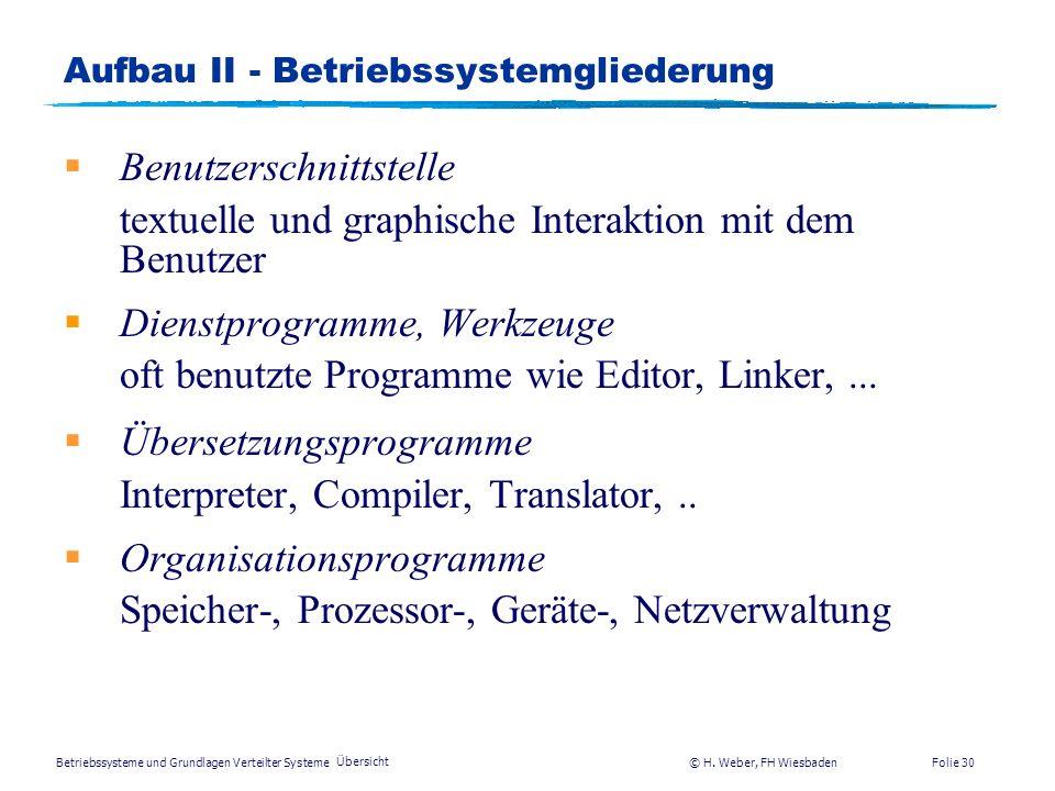 Betriebssysteme und Grundlagen Verteilter Systeme © H. Weber, FH Wiesbaden Übersicht Folie 29 Aufbau I - Unterschiedliche Arten von BSn zMainframe-Bet