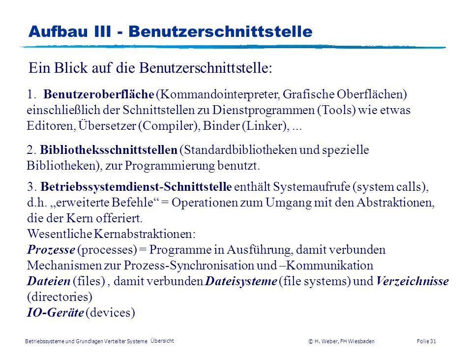 Betriebssysteme und Grundlagen Verteilter Systeme © H. Weber, FH Wiesbaden Übersicht Folie 30 Aufbau II - Betriebssystemgliederung Benutzerschnittstel