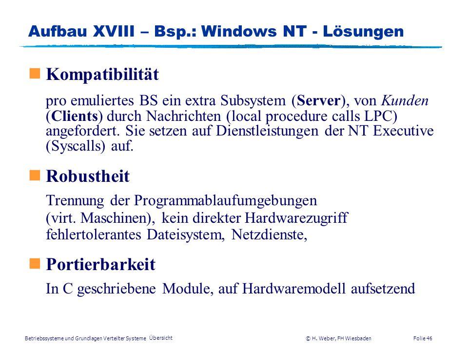 Betriebssysteme und Grundlagen Verteilter Systeme © H. Weber, FH Wiesbaden Übersicht Folie 45 Aufbau XVII – Bsp.: Windows NT - Anforderungen nkompatib