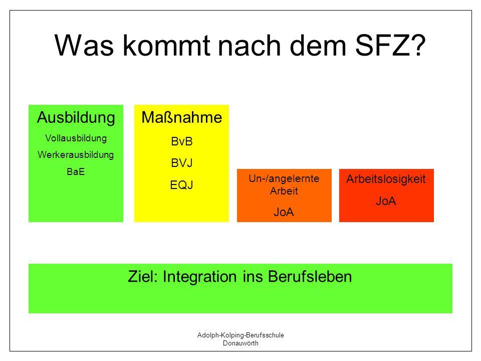 Adolph-Kolping-Berufsschule Donauwörth Was kommt nach dem SFZ? Ausbildung Vollausbildung Werkerausbildung BaE Arbeitslosigkeit JoA Maßnahme BvB BVJ EQ