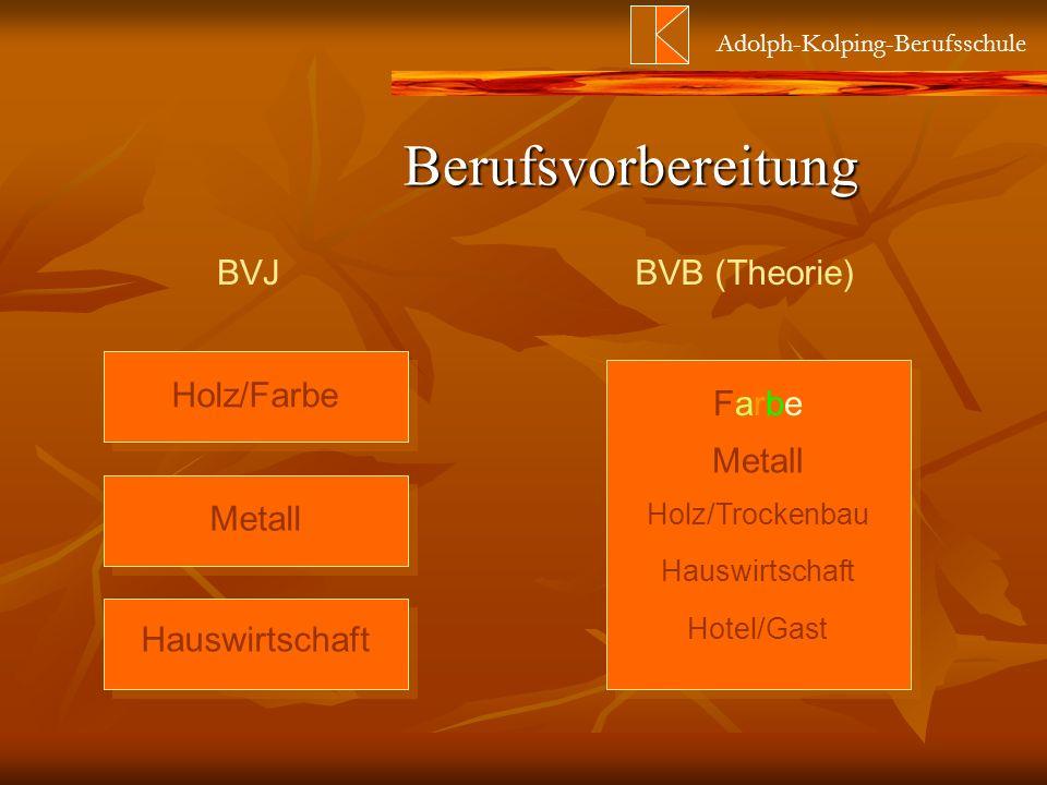 Adolph-Kolping-Berufsschule BVJBVB (Theorie) Holz/Farbe Metall Hauswirtschaft FarbeFarbe Metall Holz/Trockenbau Hauswirtschaft Hotel/Gast Berufsvorber