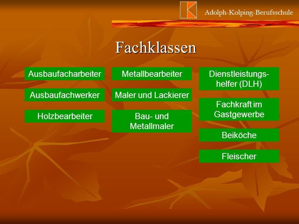 Adolph-Kolping-Berufsschule Fachklassen Ausbaufacharbeiter Maler und Lackierer Dienstleistungs- helfer (DLH) Bau- und Metallmaler Fleischer Beiköche F