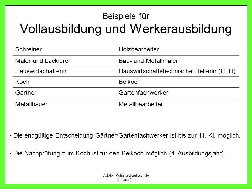 Adolph-Kolping-Berufsschule Donauwörth Beispiele für Vollausbildung und Werkerausbildung SchreinerHolzbearbeiter Maler und LackiererBau- und Metallmal