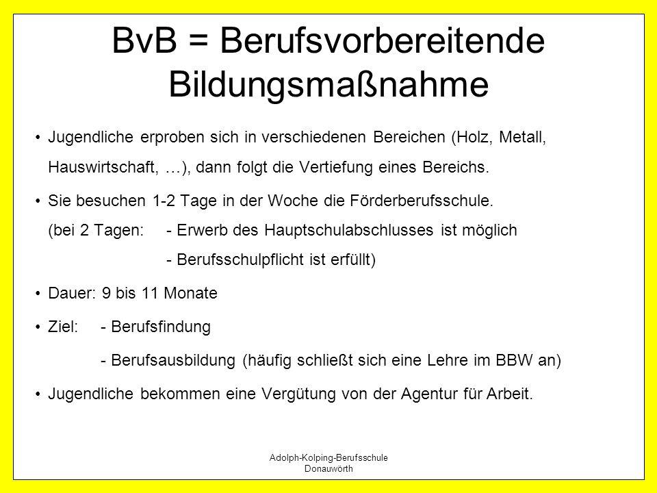 Adolph-Kolping-Berufsschule Donauwörth BvB = Berufsvorbereitende Bildungsmaßnahme Jugendliche erproben sich in verschiedenen Bereichen (Holz, Metall,