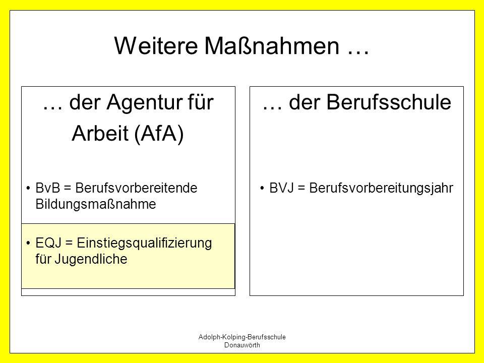 Adolph-Kolping-Berufsschule Donauwörth Weitere Maßnahmen … … der Agentur für Arbeit (AfA) BvB = Berufsvorbereitende Bildungsmaßnahme EQJ = Einstiegsqu