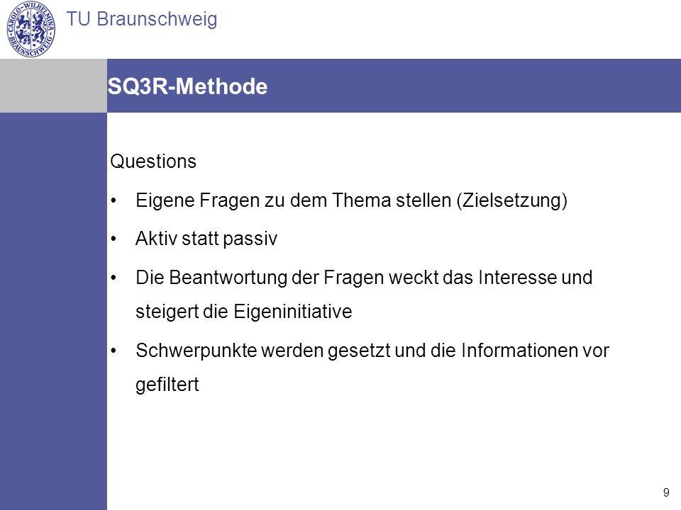 TU Braunschweig Arne Jansen Matthias Reindl Torsten Spille 14.07.2006 9 SQ3R-Methode Questions Eigene Fragen zu dem Thema stellen (Zielsetzung) Aktiv