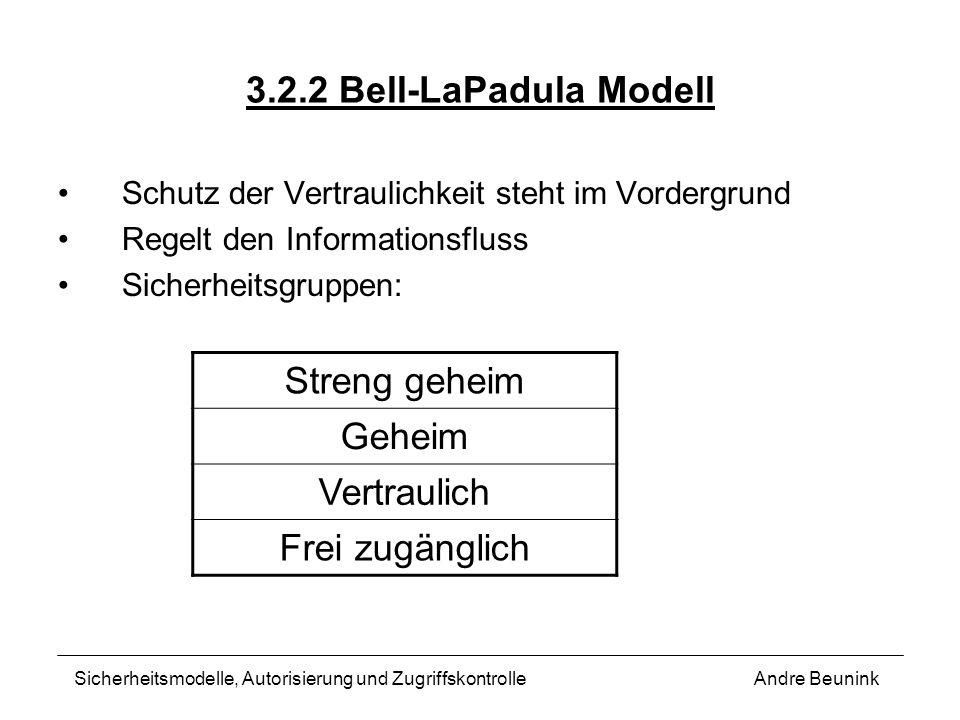 3.2.2 Bell-LaPadula Modell Schutz der Vertraulichkeit steht im Vordergrund Regelt den Informationsfluss Sicherheitsgruppen: Andre BeuninkSicherheitsmo