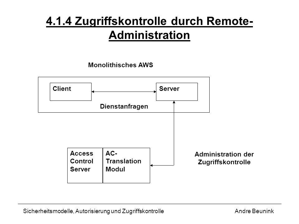 4.1.4 Zugriffskontrolle durch Remote- Administration Andre BeuninkSicherheitsmodelle, Autorisierung und Zugriffskontrolle Monolithisches AWS ClientSer