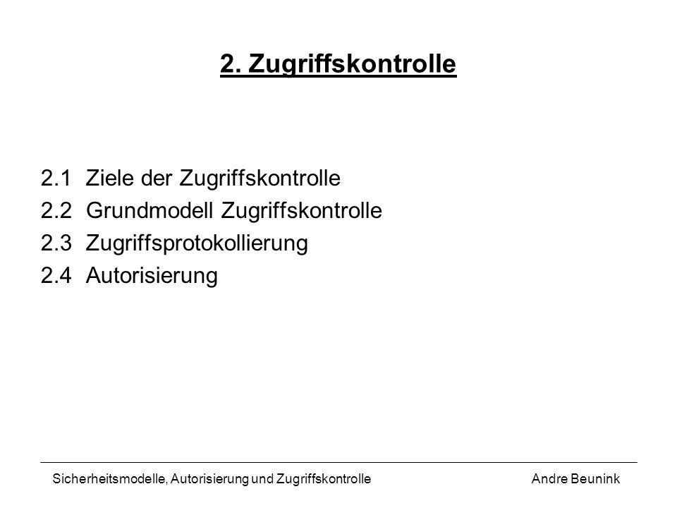 2. Zugriffskontrolle 2.1Ziele der Zugriffskontrolle 2.2Grundmodell Zugriffskontrolle 2.3Zugriffsprotokollierung 2.4Autorisierung Andre BeuninkSicherhe