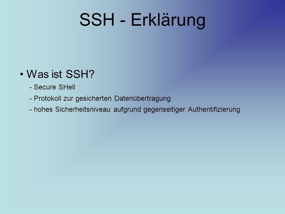 SSH - Erklärung Was ist SSH? - Secure SHell - Protokoll zur gesicherten Datenübertragung - hohes Sicherheitsniveau aufgrund gegenseitiger Authentifizi