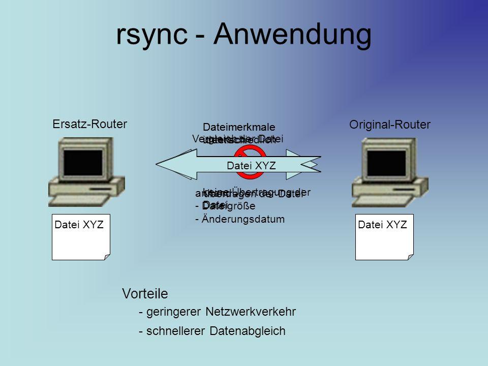 rsync - Anwendung Ersatz-Router Original-Router Vergleich der Datei anhand - Dateigröße - Änderungsdatum übertragen der Datei Dateimerkmale unterschiedlich Datei XYZ Dateimerkmale identisch keine Übertragung der Datei Datei XYZ Vorteile - geringerer Netzwerkverkehr - schnellerer Datenabgleich