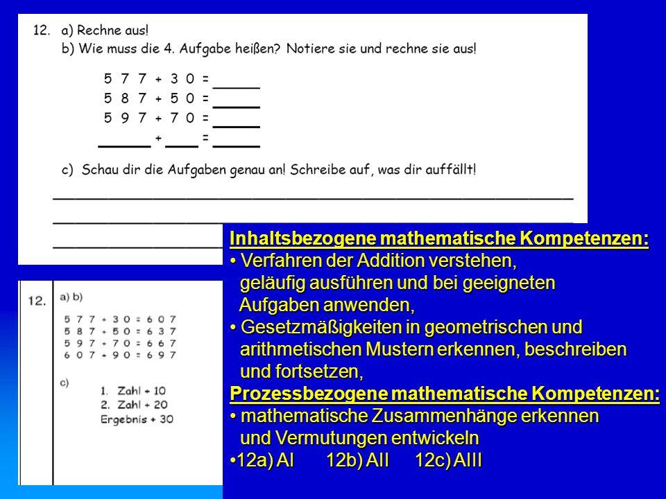 Inhaltsbezogene mathematische Kompetenzen: Verfahren der Addition verstehen, Verfahren der Addition verstehen, geläufig ausführen und bei geeigneten g