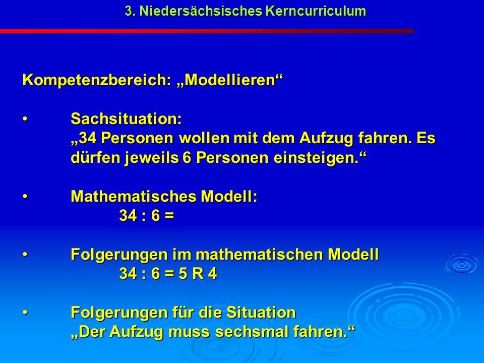 3. Niedersächsisches Kerncurriculum Kompetenzbereich: Modellieren Sachsituation: Sachsituation: 34 Personen wollen mit dem Aufzug fahren. Es dürfen je