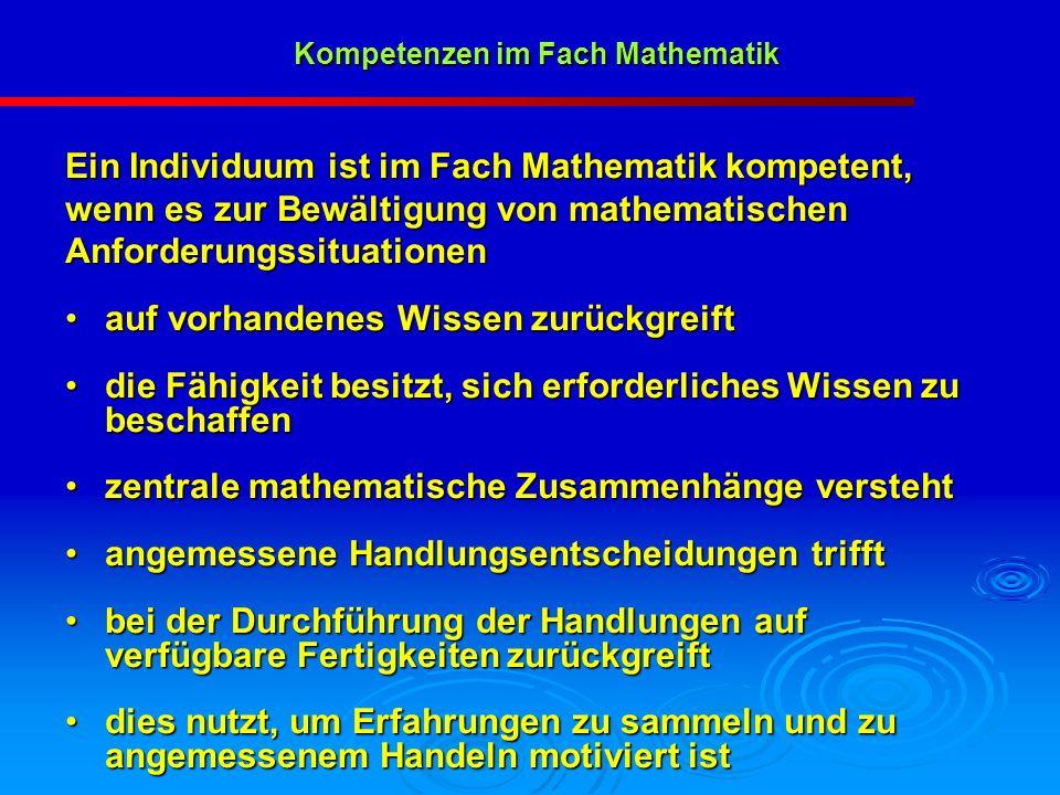 Ein Individuum ist im Fach Mathematik kompetent, wenn es zur Bewältigung von mathematischen Anforderungssituationen auf vorhandenes Wissen zurückgreif