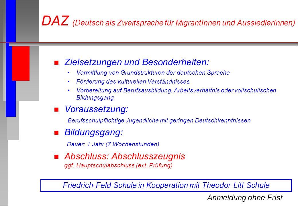 n Zielsetzungen und Besonderheiten: Vermittlung von Grundstrukturen der deutschen Sprache Förderung des kulturellen Verständnisses Vorbereitung auf Be