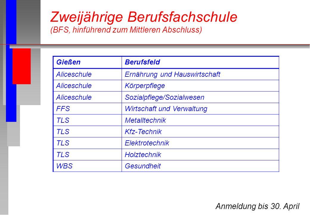 Anmeldung bis 30. April GießenBerufsfeld AliceschuleErnährung und Hauswirtschaft AliceschuleKörperpflege AliceschuleSozialpflege/Sozialwesen FFSWirtsc