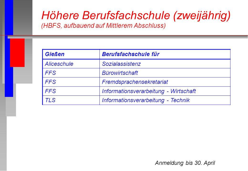 Anmeldung bis 30. April Höhere Berufsfachschule (zweijährig) (HBFS, aufbauend auf Mittlerem Abschluss) GießenBerufsfachschule für AliceschuleSozialass