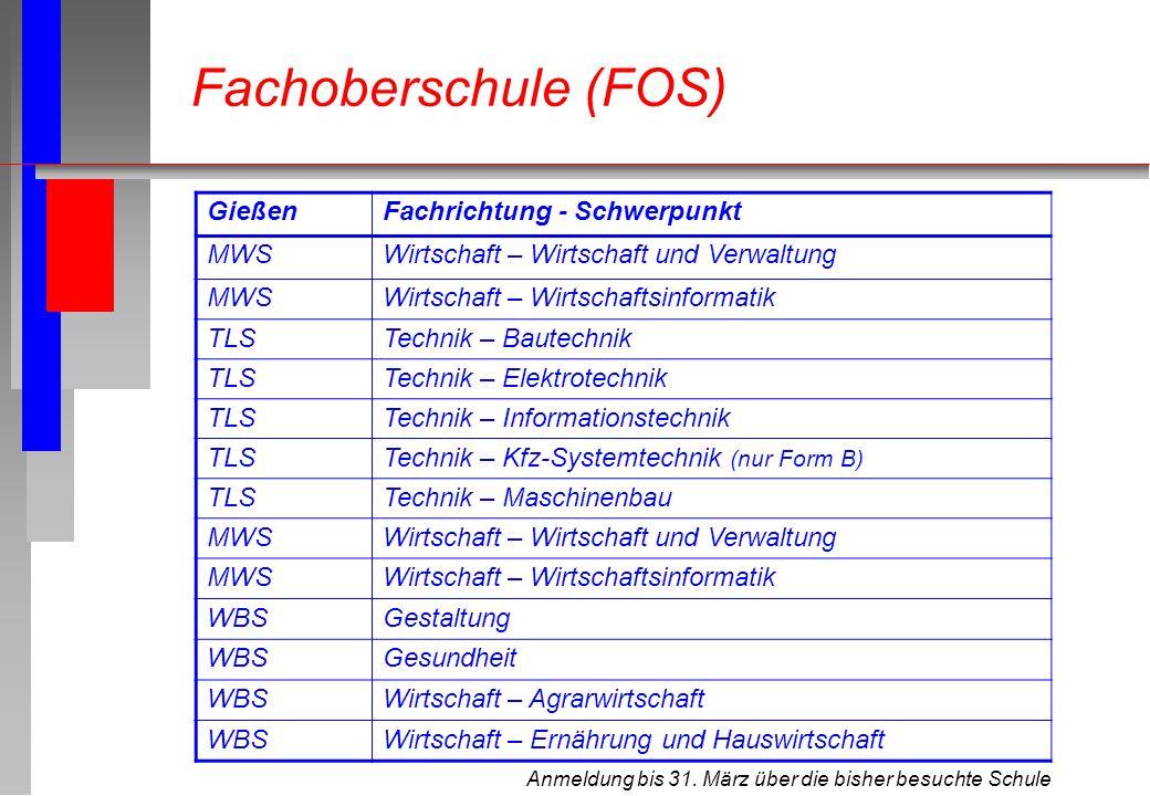 Anmeldung bis 31. März über die bisher besuchte Schule Fachoberschule (FOS) GießenFachrichtung - Schwerpunkt MWSWirtschaft – Wirtschaft und Verwaltung