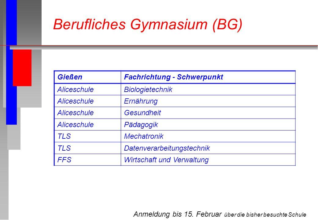 Anmeldung bis 15. Februar über die bisher besuchte Schule Berufliches Gymnasium (BG) GießenFachrichtung - Schwerpunkt AliceschuleBiologietechnik Alice