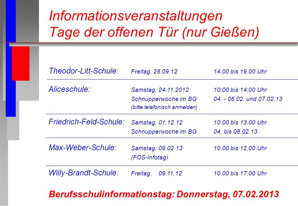 Informationsveranstaltungen Tage der offenen Tür (nur Gießen) Theodor-Litt-Schule: Freitag, 28.09.1214.00 bis 19.00 Uhr Aliceschule: Samstag, 24.11.20