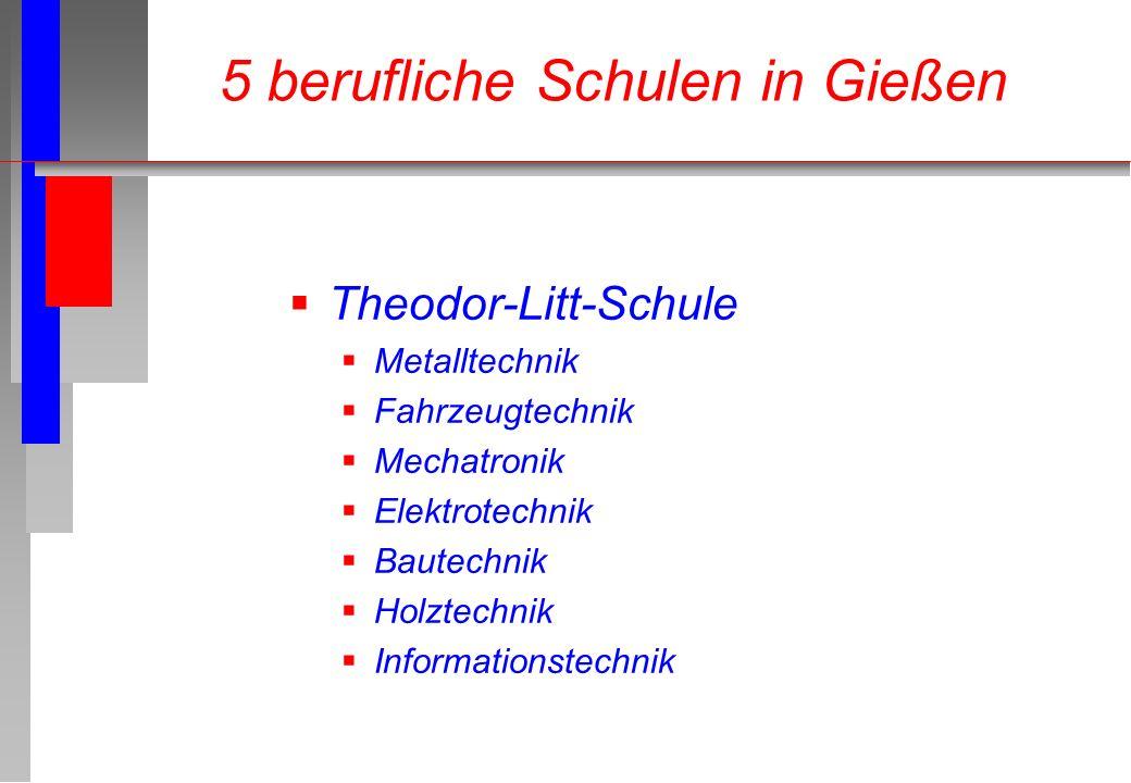 Theodor-Litt-Schule Metalltechnik Fahrzeugtechnik Mechatronik Elektrotechnik Bautechnik Holztechnik Informationstechnik 5 berufliche Schulen in Gießen