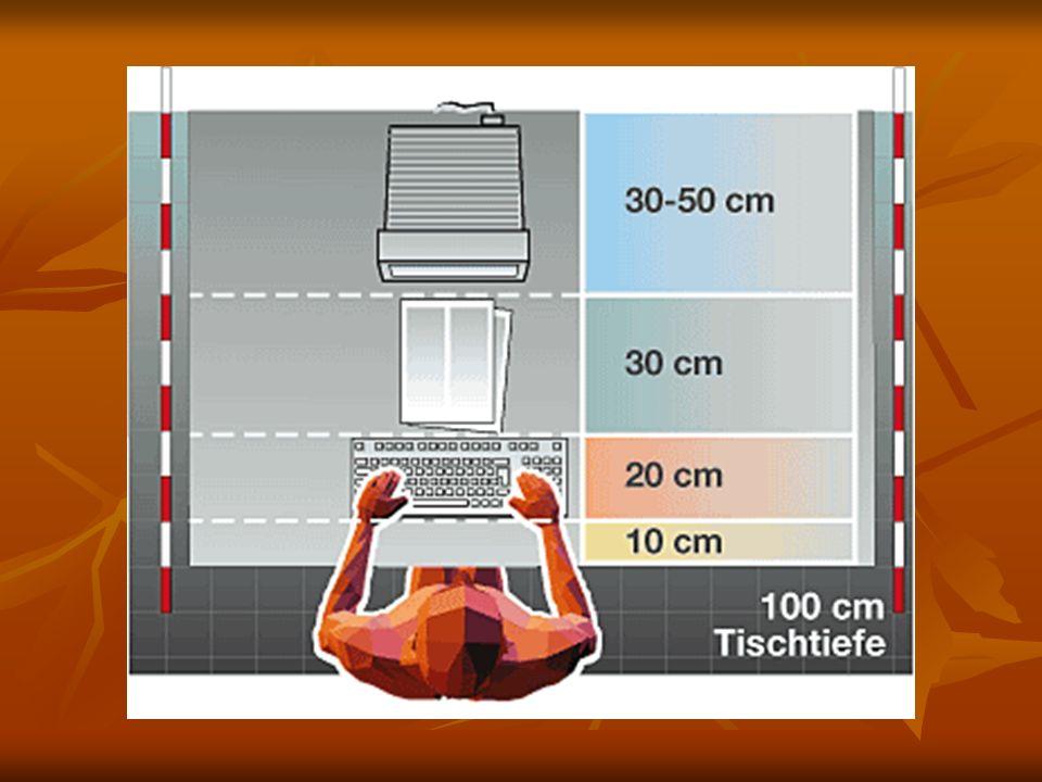 - Es muss genug Licht im Raum sein ( >18000lx ) - Wenn möglich sollten Leuchtstofflampen verwendet werden ( 25% Lichtausbeute anstatt 15% bei Wolfram / helleres Licht - Das Licht darf nicht blenden ( Gesicht, Monitor ) - Die Raumtemperatur darf weder zu kalt noch zu heiß sein ( Heizung / Klimaanlage ) - Das allgemeine Störgeräusch darf einen bestimmten dB Level nicht übersteigen ( Empfindung bei Fremd- geräusch ) - Frische Luft ( weder Zug noch stickige Luft ) - Arbeitsplatzgeräte sollten in Griffreichweite sein damit man nicht hin und her rollen muss