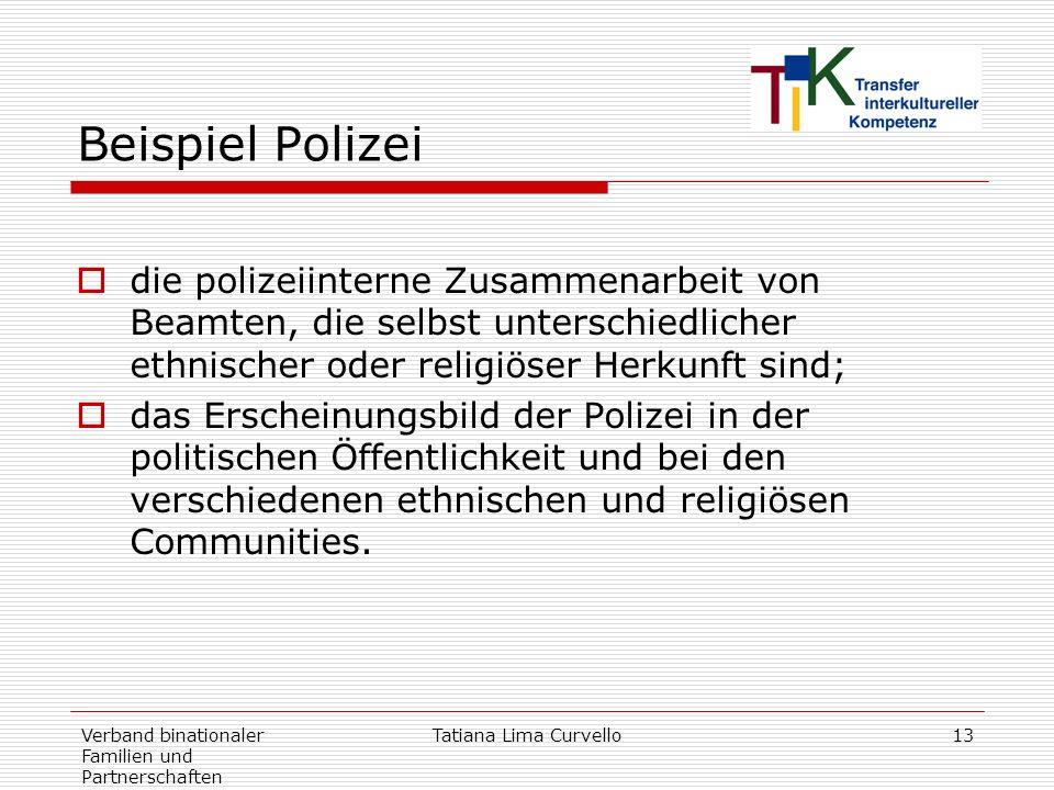 Verband binationaler Familien und Partnerschaften Tatiana Lima Curvello13 Beispiel Polizei die polizeiinterne Zusammenarbeit von Beamten, die selbst u