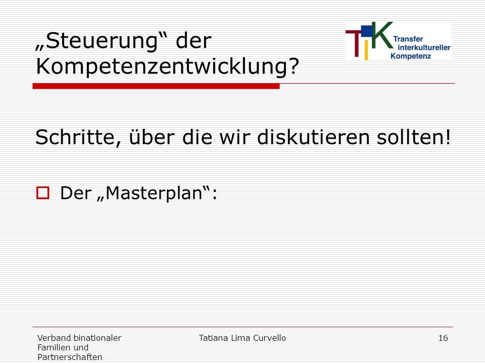 Verband binationaler Familien und Partnerschaften Tatiana Lima Curvello16 Steuerung der Kompetenzentwicklung? Schritte, über die wir diskutieren sollt