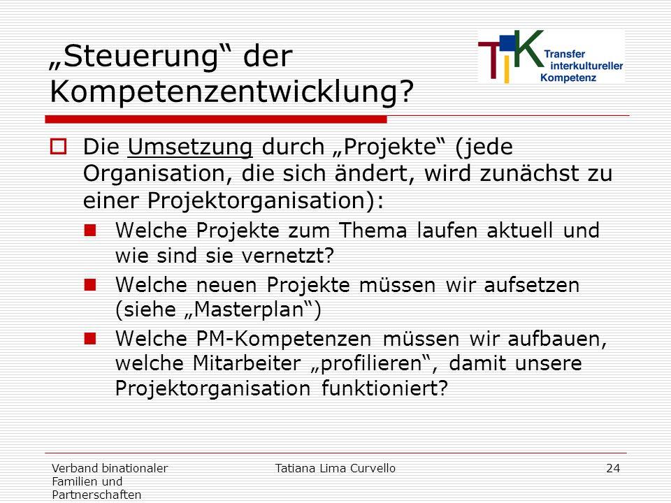 Verband binationaler Familien und Partnerschaften Tatiana Lima Curvello24 Steuerung der Kompetenzentwicklung? Die Umsetzung durch Projekte (jede Organ