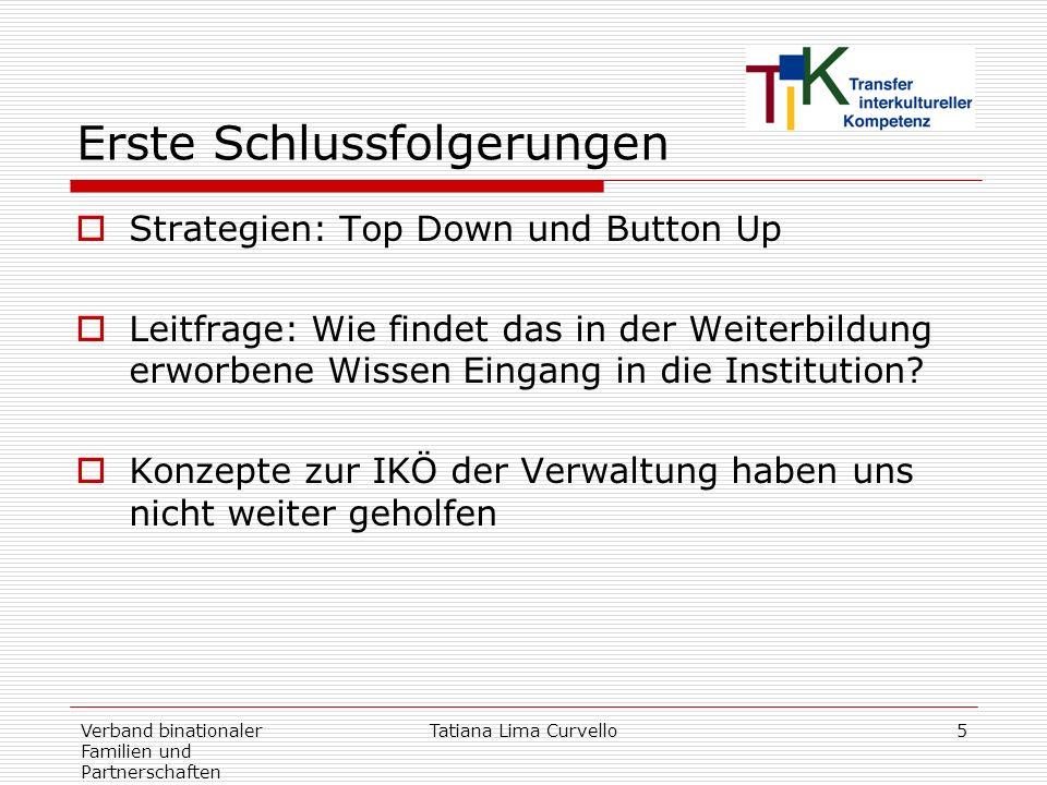 Verband binationaler Familien und Partnerschaften Tatiana Lima Curvello5 Erste Schlussfolgerungen Strategien: Top Down und Button Up Leitfrage: Wie fi