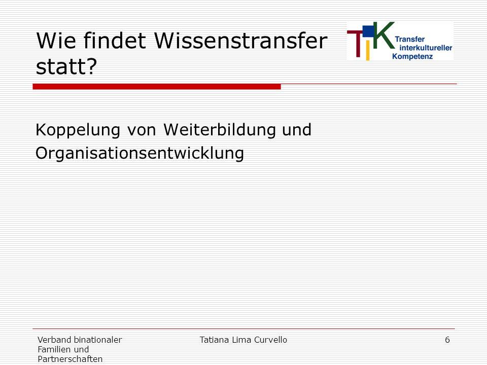 Verband binationaler Familien und Partnerschaften Tatiana Lima Curvello6 Wie findet Wissenstransfer statt? Koppelung von Weiterbildung und Organisatio