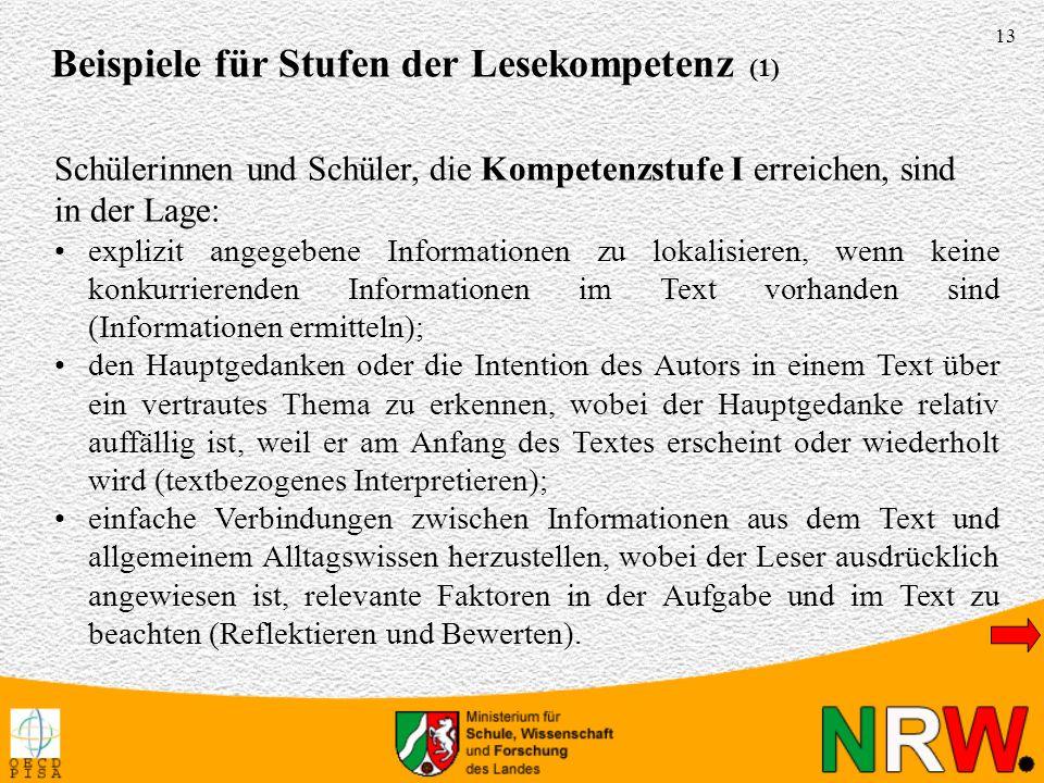 13 explizit angegebene Informationen zu lokalisieren, wenn keine konkurrierenden Informationen im Text vorhanden sind (Informationen ermitteln); den H