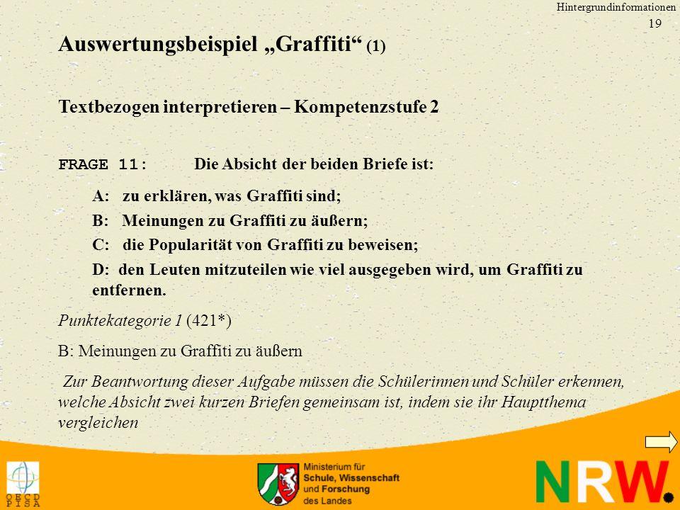 19 Textbezogen interpretieren – Kompetenzstufe 2 FRAGE 11: Die Absicht der beiden Briefe ist: A: zu erklären, was Graffiti sind; B: Meinungen zu Graffiti zu äußern; C: die Popularität von Graffiti zu beweisen; D: den Leuten mitzuteilen wie viel ausgegeben wird, um Graffiti zu entfernen.