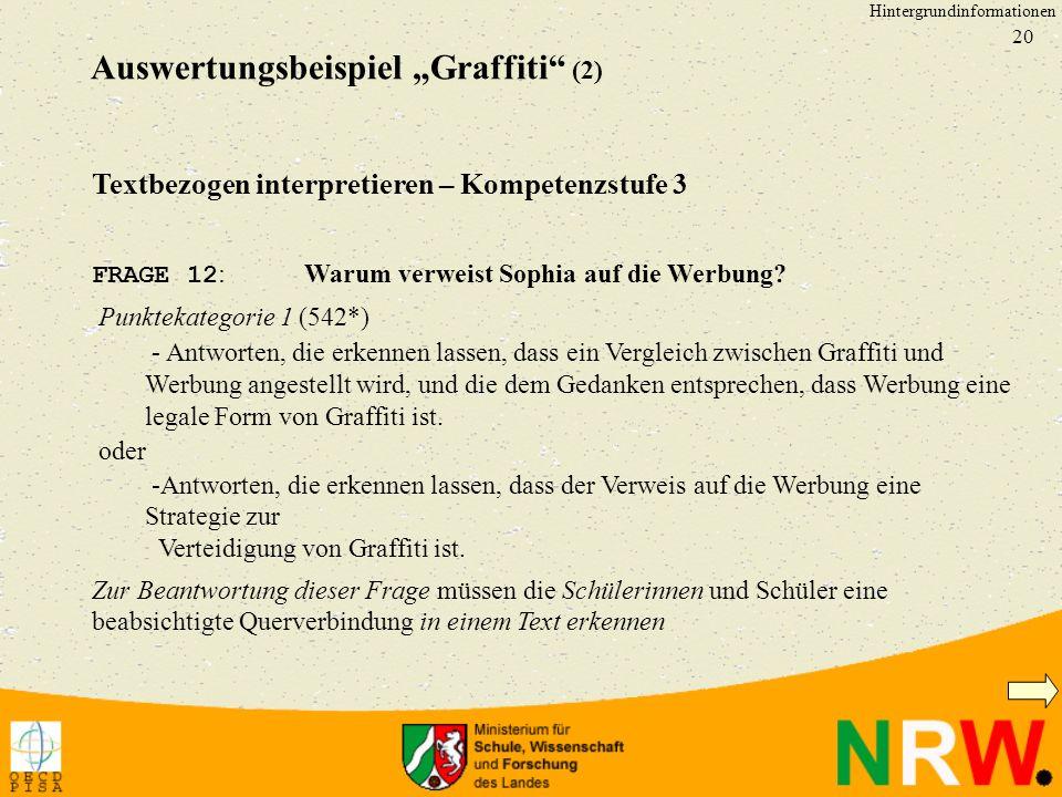 20 Textbezogen interpretieren – Kompetenzstufe 3 FRAGE 12 : Warum verweist Sophia auf die Werbung? Punktekategorie 1 (542*) Antworten, die erkennen la