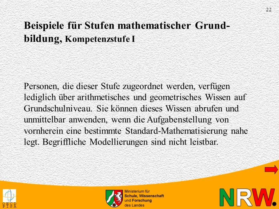 22 Personen, die dieser Stufe zugeordnet werden, verfügen lediglich über arithmetisches und geometrisches Wissen auf Grundschulniveau.
