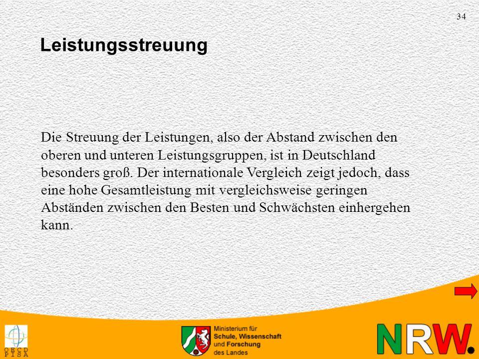 34 Die Streuung der Leistungen, also der Abstand zwischen den oberen und unteren Leistungsgruppen, ist in Deutschland besonders groß. Der internationa