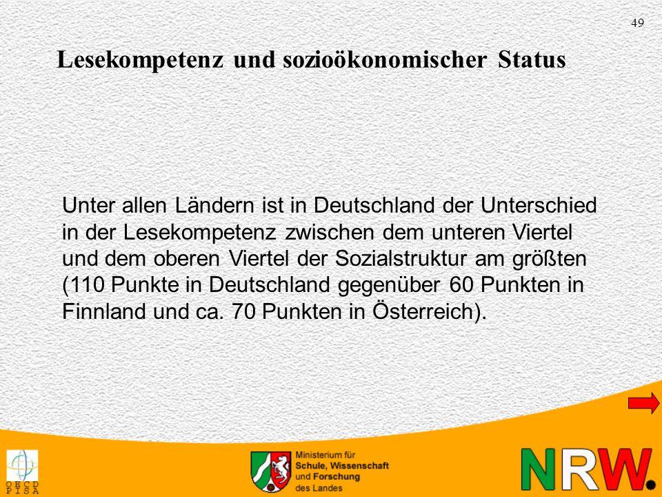 49 Unter allen Ländern ist in Deutschland der Unterschied in der Lesekompetenz zwischen dem unteren Viertel und dem oberen Viertel der Sozialstruktur am größten (110 Punkte in Deutschland gegenüber 60 Punkten in Finnland und ca.