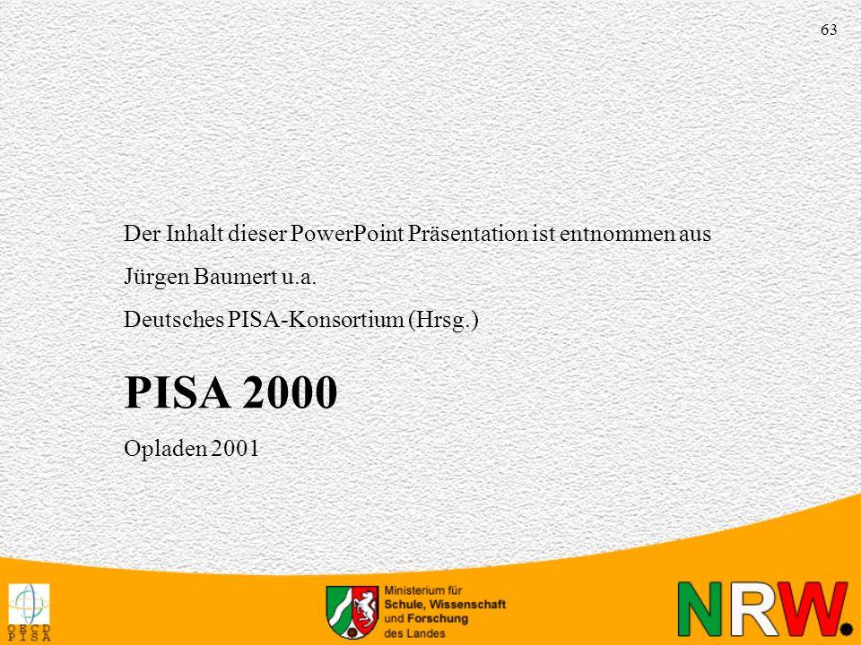 63 Der Inhalt dieser PowerPoint Präsentation ist entnommen aus Jürgen Baumert u.a. Deutsches PISA-Konsortium (Hrsg.) PISA 2000 Opladen 2001 QuelleQuel
