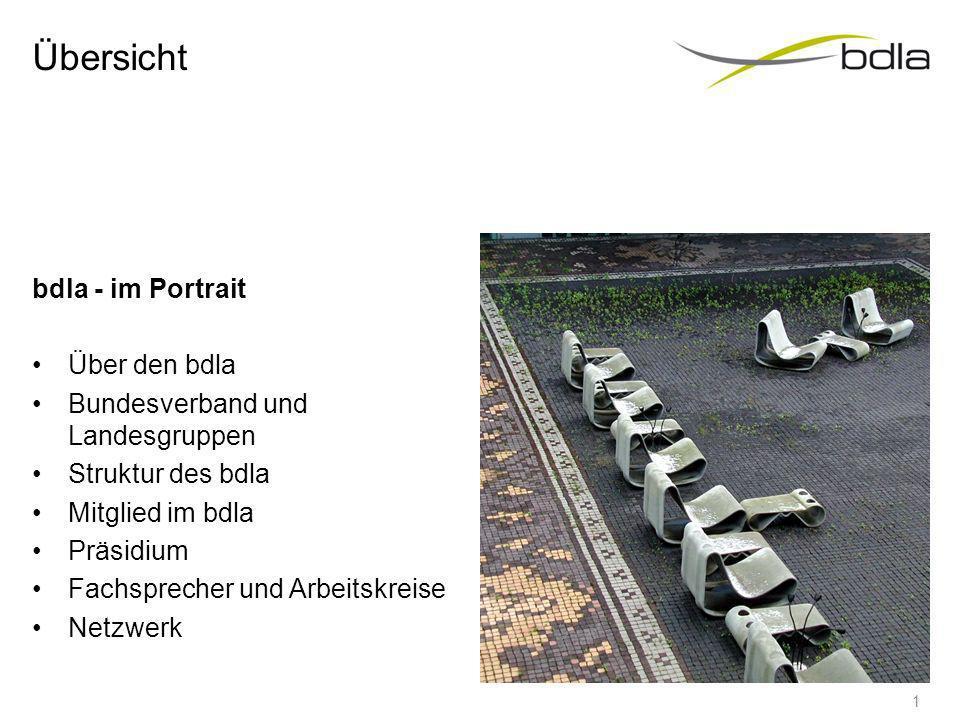 Kontakt Bund Deutscher Landschaftsarchitekten bdla Bundesgeschäftsstelle Köpenicker Straße 48/49 10179 Berlin Tel.: 0 30/27 87 15 – 0 Fax: 0 30/27 87 15 – 55 E-Mail: info@bdla.de Homepage: www.bdla.de 21