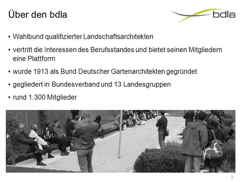Über den bdla Wahlbund qualifizierter Landschaftsarchitekten vertritt die Interessen des Berufsstandes und bietet seinen Mitgliedern eine Plattform wurde 1913 als Bund Deutscher Gartenarchitekten gegründet gegliedert in Bundesverband und 13 Landesgruppen rund 1.300 Mitglieder 3