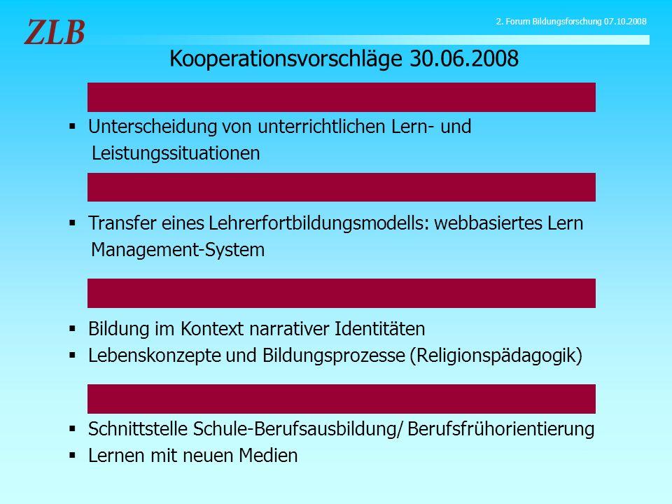 Transfer eines Lehrerfortbildungsmodells: webbasiertes Lern Management-System Kooperationsvorschläge 30.06.2008 Bildung im Kontext narrativer Identitä
