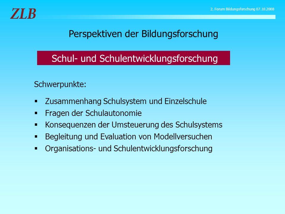 Schwerpunkte: Zusammenhang Schulsystem und Einzelschule Fragen der Schulautonomie Konsequenzen der Umsteuerung des Schulsystems Begleitung und Evaluat