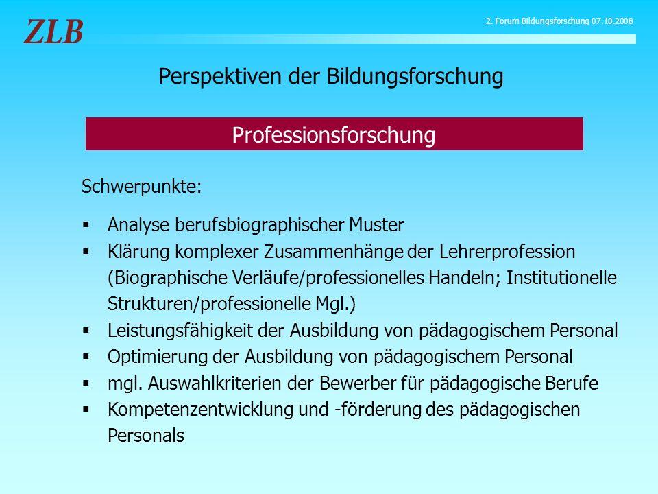 Schwerpunkte: Analyse berufsbiographischer Muster Klärung komplexer Zusammenhänge der Lehrerprofession (Biographische Verläufe/professionelles Handeln