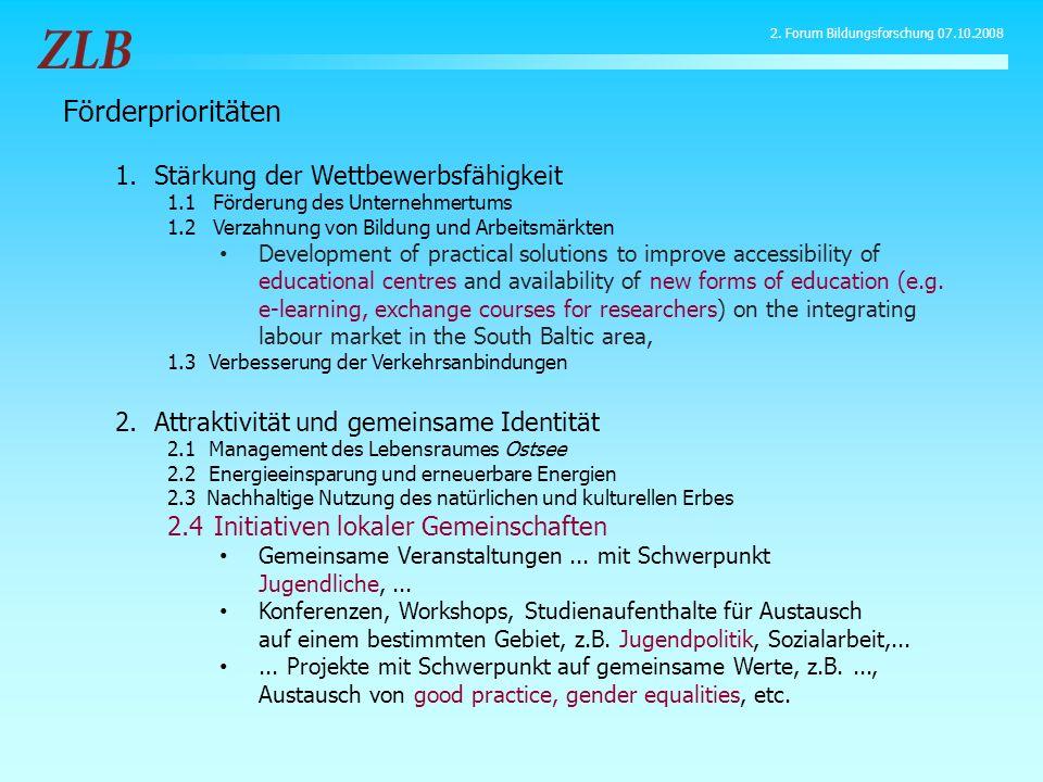 Förderprioritäten 1.Stärkung der Wettbewerbsfähigkeit 1.1 Förderung des Unternehmertums 1.2 Verzahnung von Bildung und Arbeitsmärkten Development of p