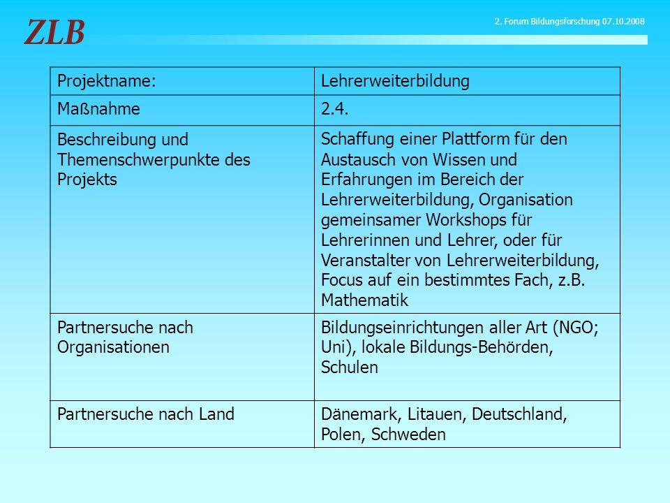 Projektname:Lehrerweiterbildung Ma ß nahme2.4. Beschreibung und Themenschwerpunkte des Projekts Schaffung einer Plattform f ü r den Austausch von Wiss