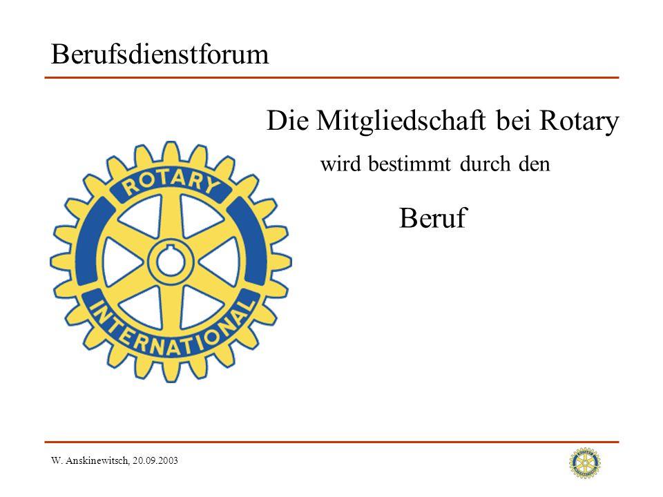 W. Anskinewitsch, 20.09.2003 Berufsdienstforum Die Mitgliedschaft bei Rotary Beruf wird bestimmt durch den