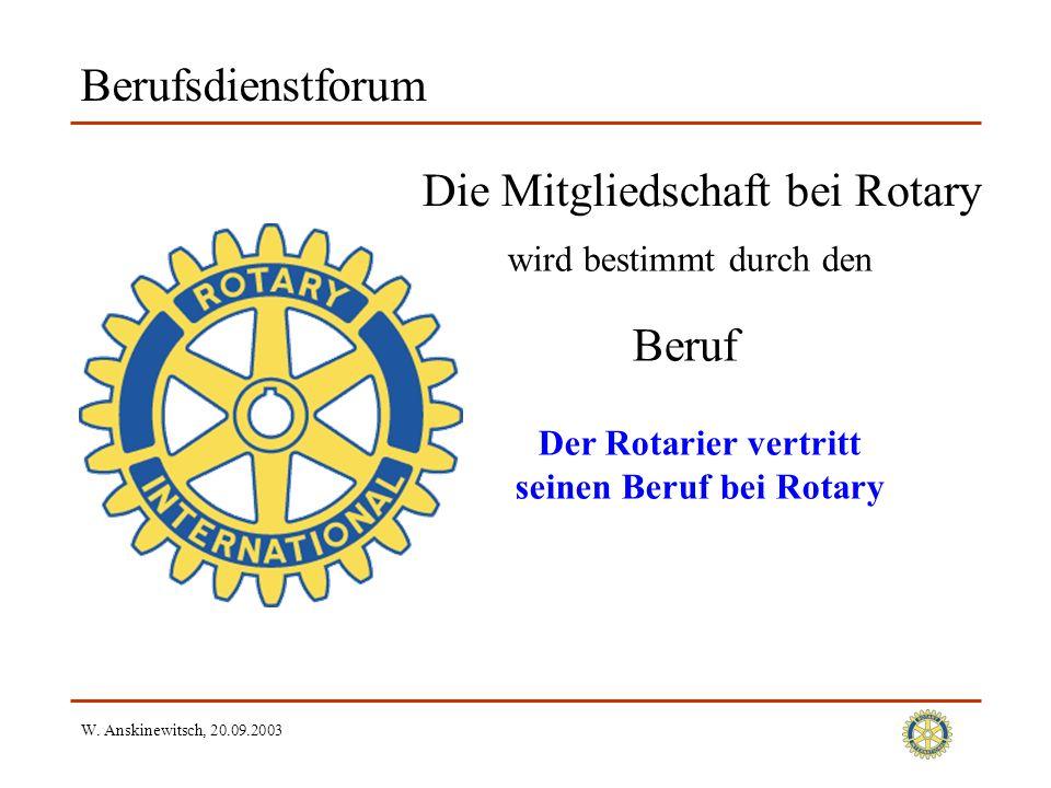 W. Anskinewitsch, 20.09.2003 Berufsdienstforum Die Mitgliedschaft bei Rotary Beruf wird bestimmt durch den Der Rotarier vertritt seinen Beruf bei Rota